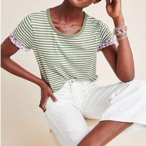 Anthropo t.la Green Striped Floral Cuff Tee ~ NWT